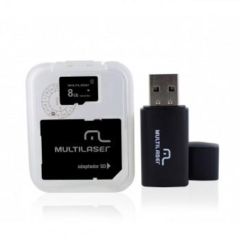 Pen Drive 8gb +micro Sd+ Adaptador Sd Multilaser Mc058