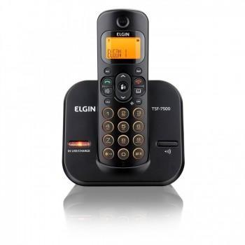 Telefone Elgin S/ Fio com Identificador e Viva Voz Preto Teclado Iluminado Tsf7500