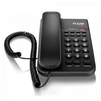 Telefone Elgin com Fio Mem�rias, Chave de Bloqueio Preto Tcf2200