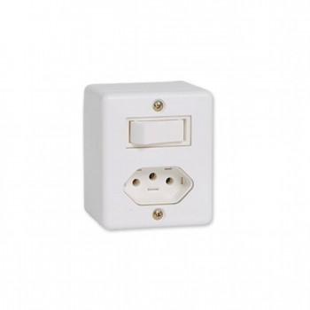 Interruptor 1 Tc Simp + Tom 2p+t Sobrepor Box 10a Ilumi