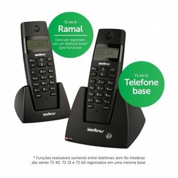 Telefone Intelbr�s Sem Fio Ts40c com Ramal Adicional e Ident. de Chamadas Preto