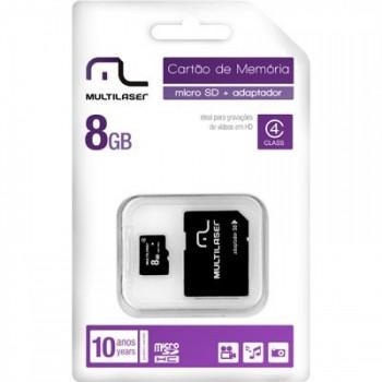 Cart�o de Mem�ria 8gb Multilaser 2x1 C/ Adaptador Mc004 Preto