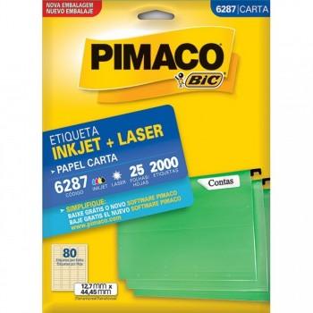 Etiqueta Laserjet Carta 6287 12,7x44,45 Pimaco com 25 Folhas