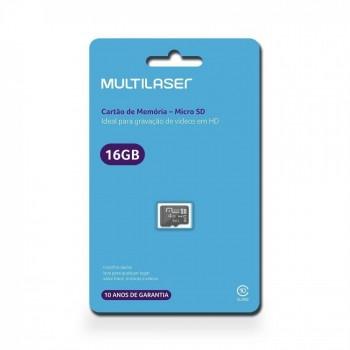 Cart�o de Mem�ria 16gb Classe 10 Multilaser Micro Sd Mc143