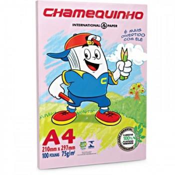 Papel A4 Resma 75grs 210x297 Chamequinho 100 Folhas Rosa