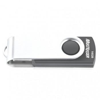 Pen Drive 16gb Multilaser Pd588 Preto Prata